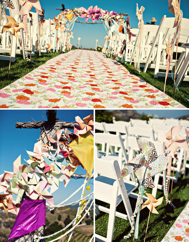 pinwheels wedding ceremony