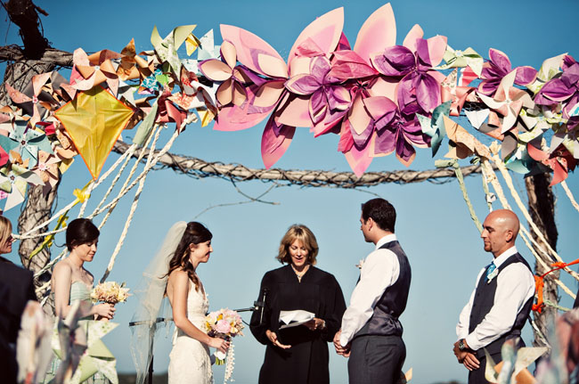 paper flowers pinwheels wedding ceremony