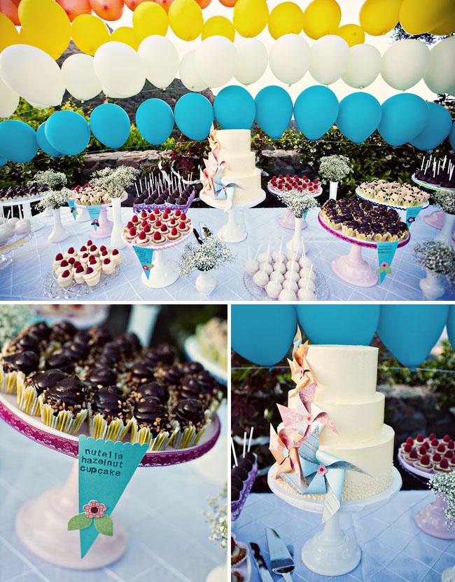 dessert table balloons pinwheel cake