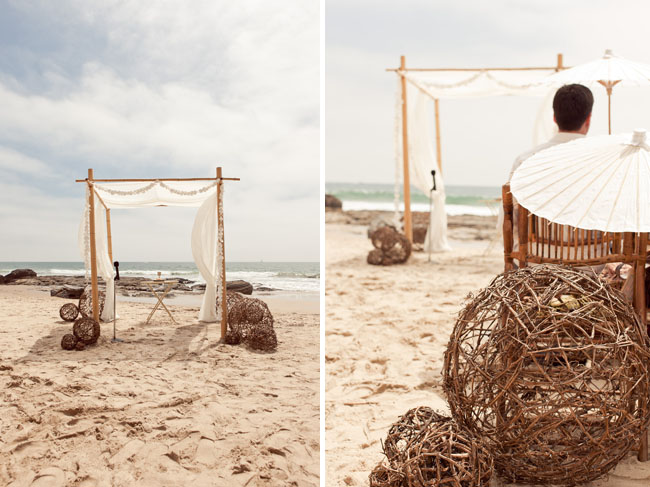 rustic beach wedding ceremony