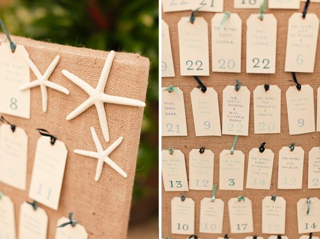 wedding place card display beach starfish