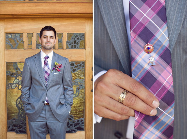 wedding groom tux plaid tie