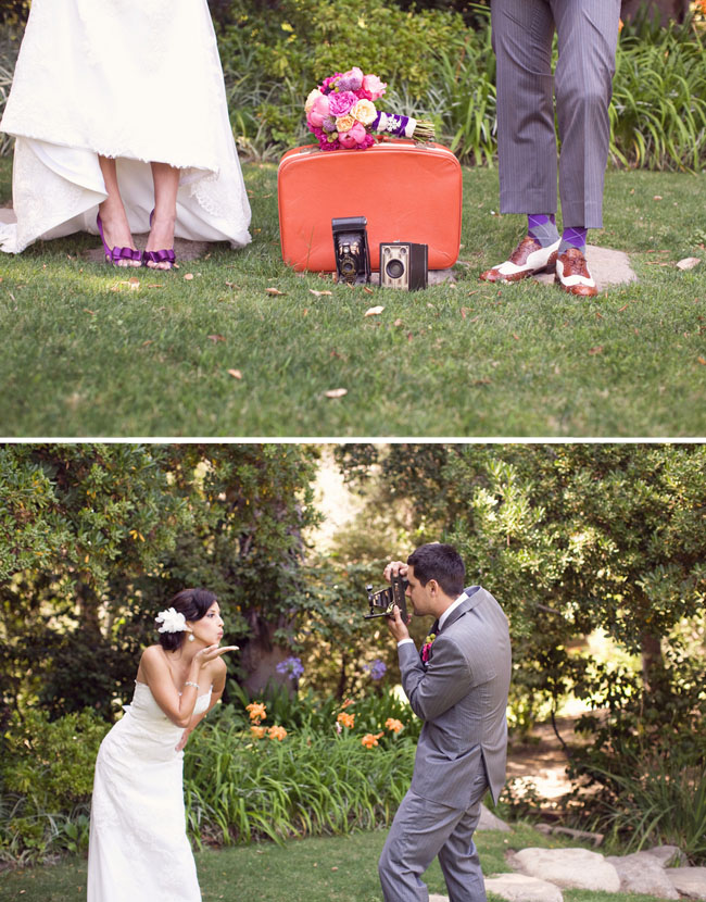 wedding couple vintage cameras
