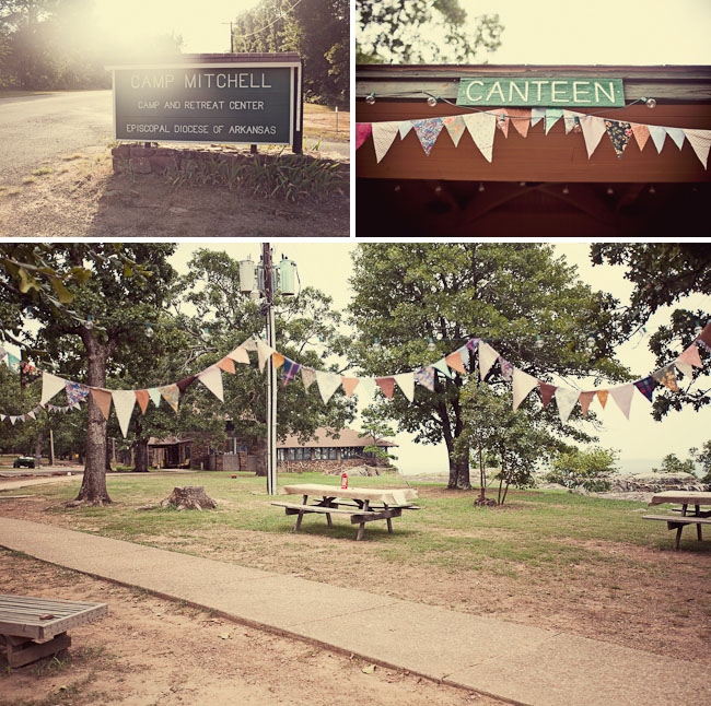 camp wedding arkansas bunting