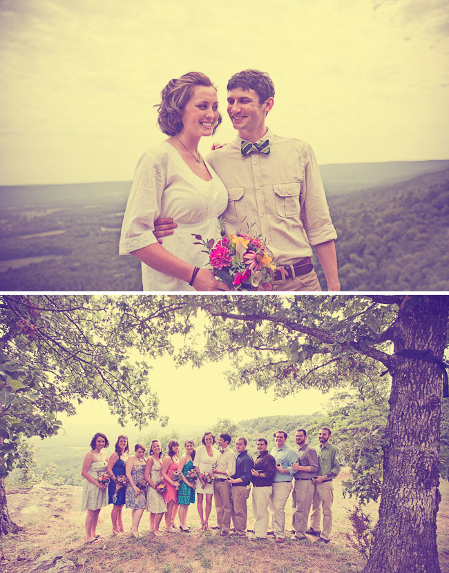 camp wedding bridal party