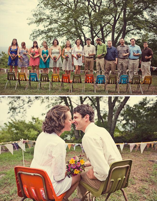 camp wedding bridal party