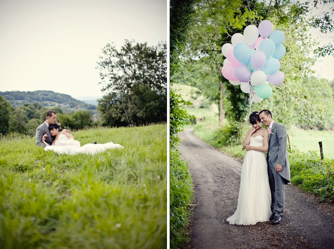 wedding dress colorful balloons