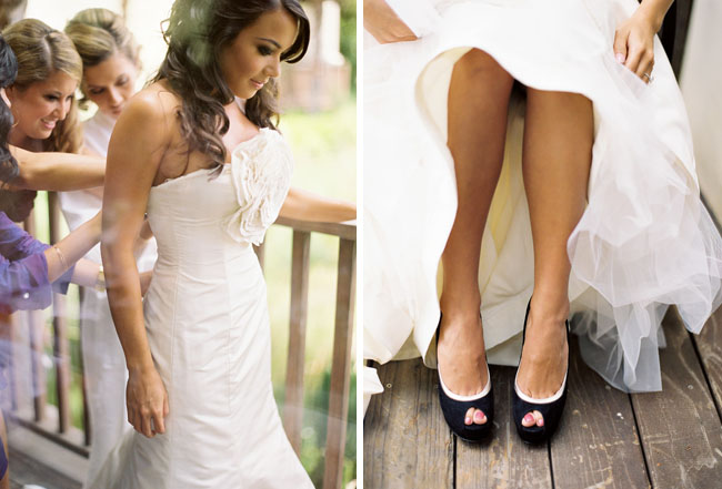bride with black shoes