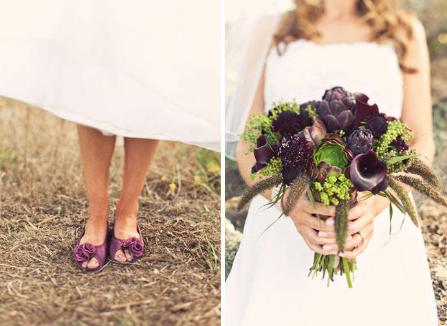 purple wedding shoes bouquet