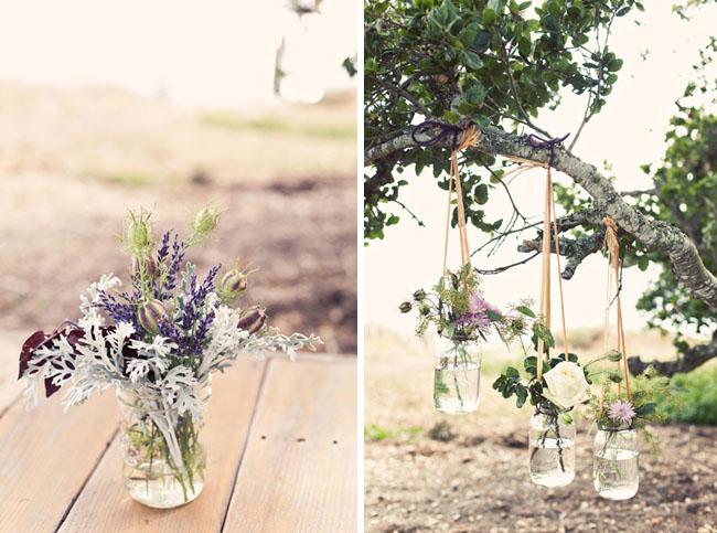 flowers hanging vases tree