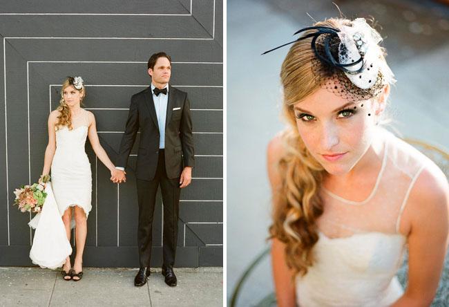 wedding dress and hair piece
