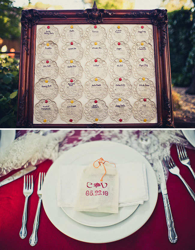 lace wedding place cards
