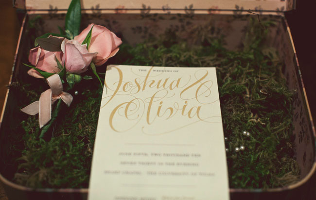 Real wedding olivia joshua39s glamourous wedding green for Wedding invitations with real flowers