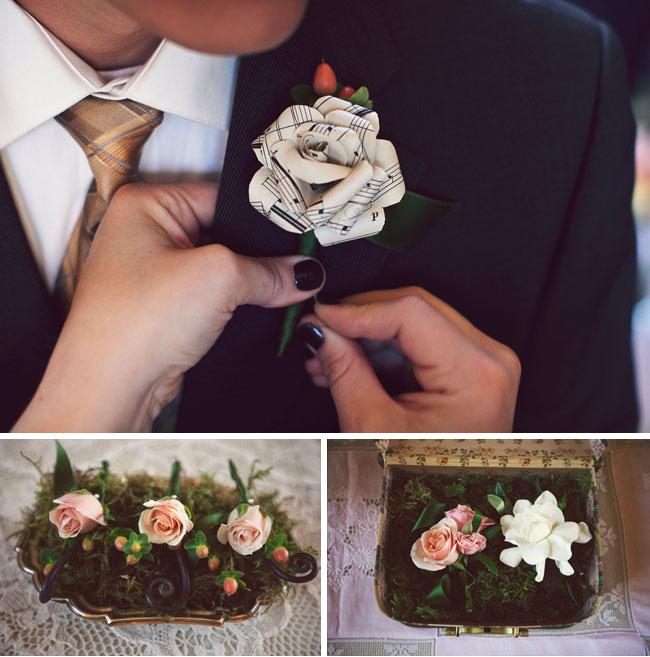 Real wedding olivia joshuas glamourous wedding green wedding shoes music paper flowers mightylinksfo