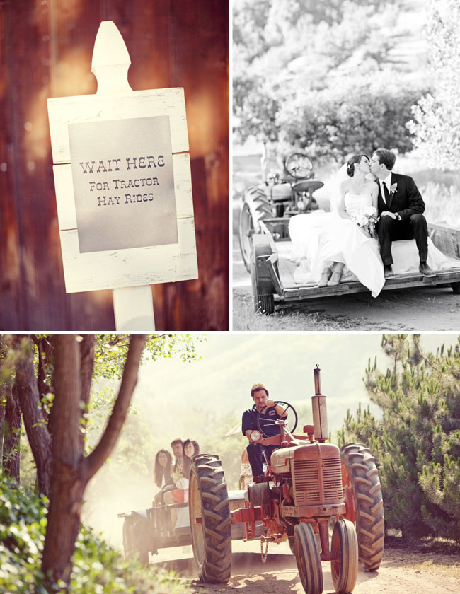 Rileys Farm wedding tractor