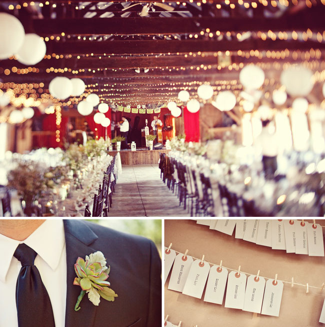 barn wedding reception lights hanging