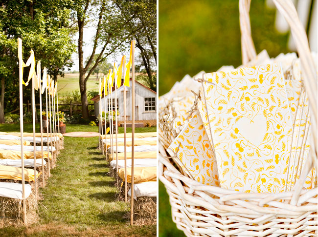 wedding ceremony hay bails as chairs