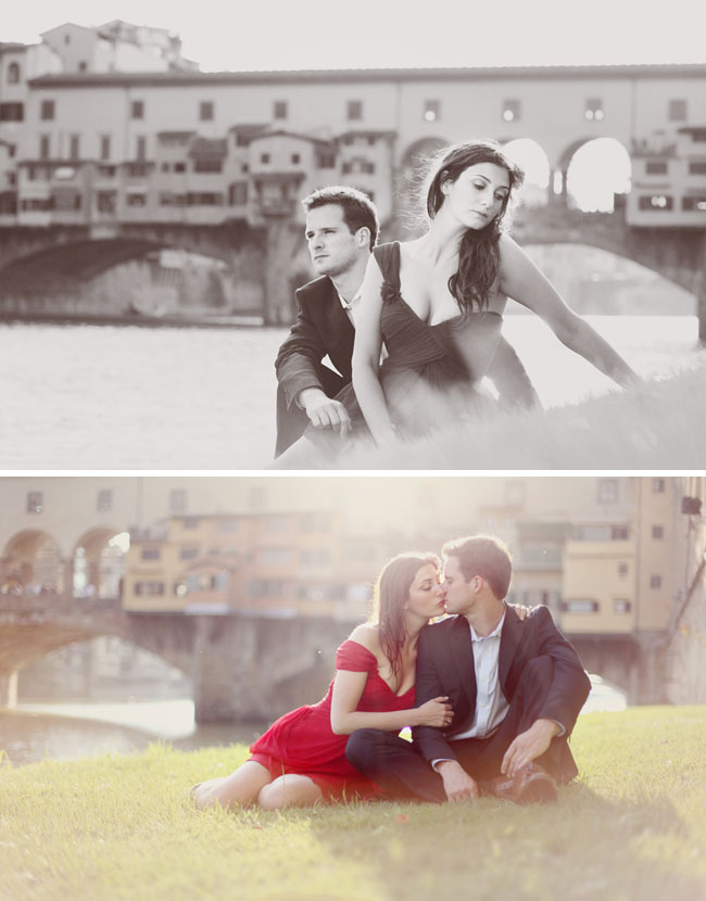 red dress engagement photos