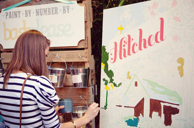 hitched paint by number wedding sign