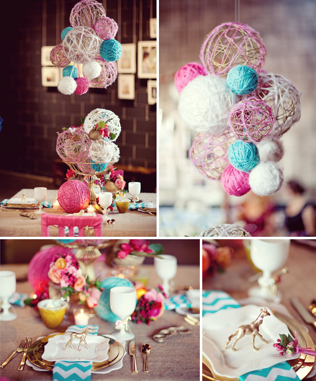 hanging yarn balls wedding decoration