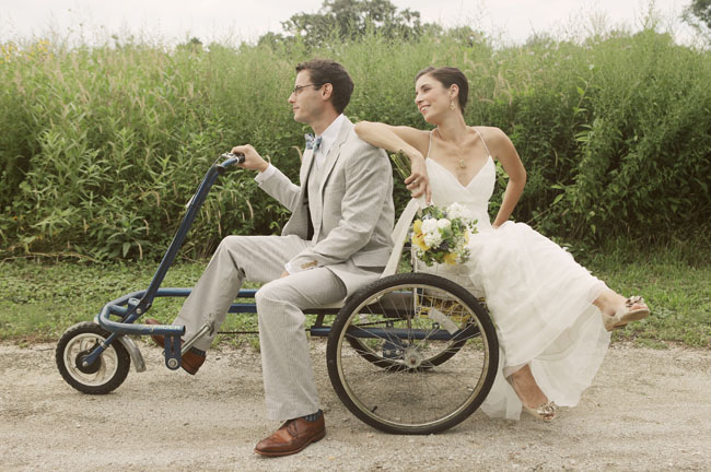 wedding couple on bike