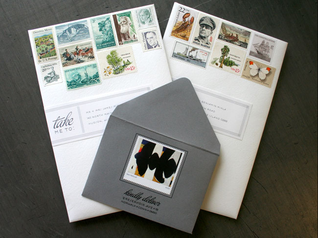 wedding invitations pretty stamps