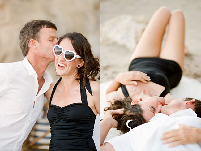 Malibu engagement session heart sunglasses