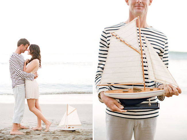 beach engagement photos boat