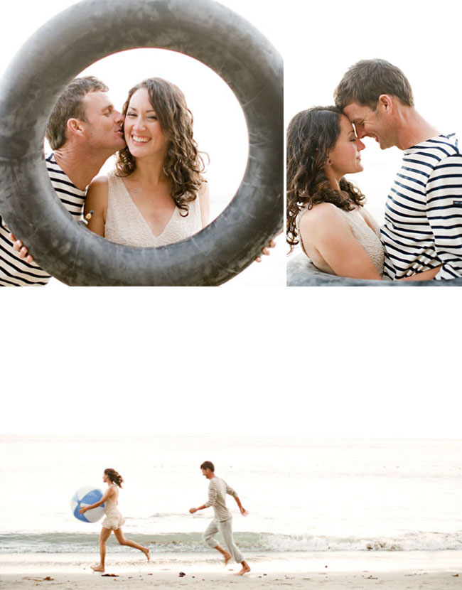 beach engagement photos inner tube
