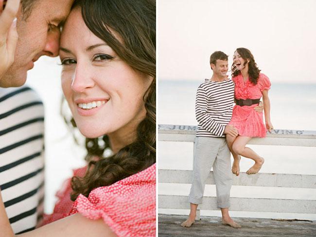 beach engagement photos red dress