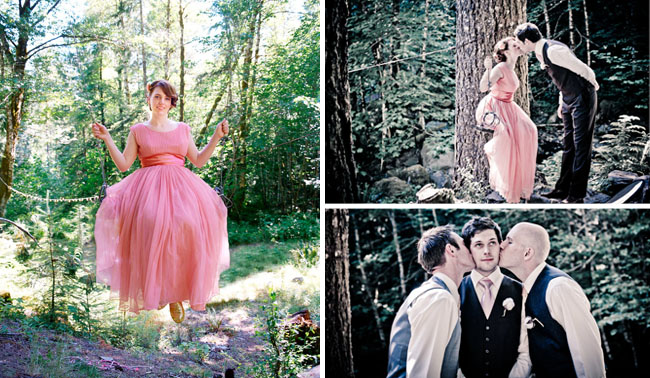 pink wedding dress swing