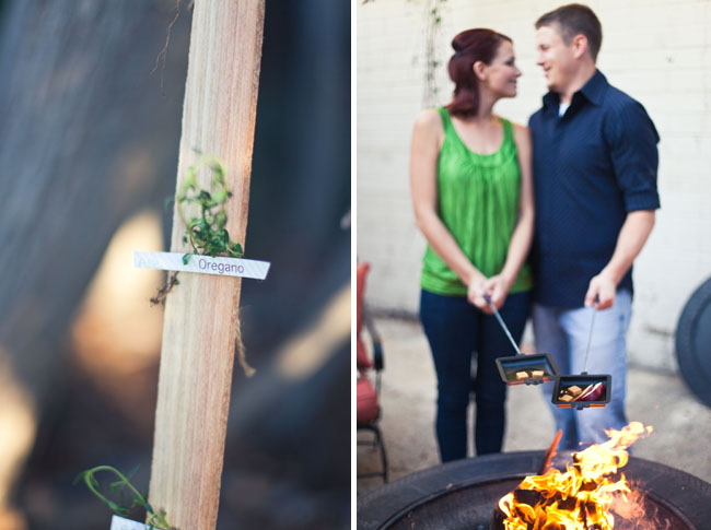 rustic fall engagement party campfire