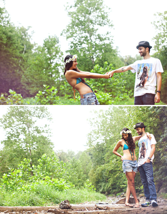 summer river engagement photos