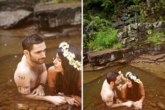summer river engagement photos