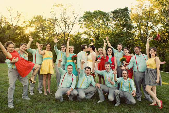 bright dressed bridal party
