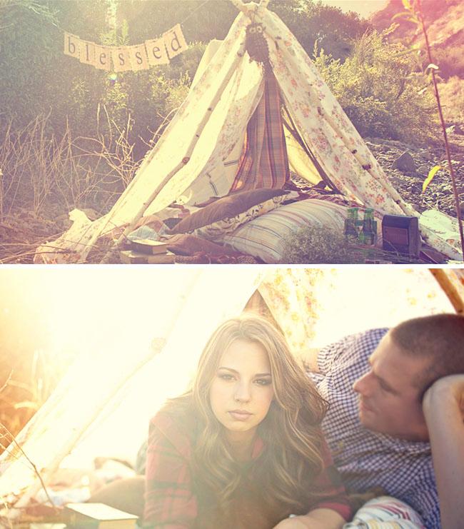 engagement photos tent