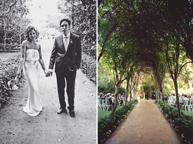 an arch of trees down the aisle