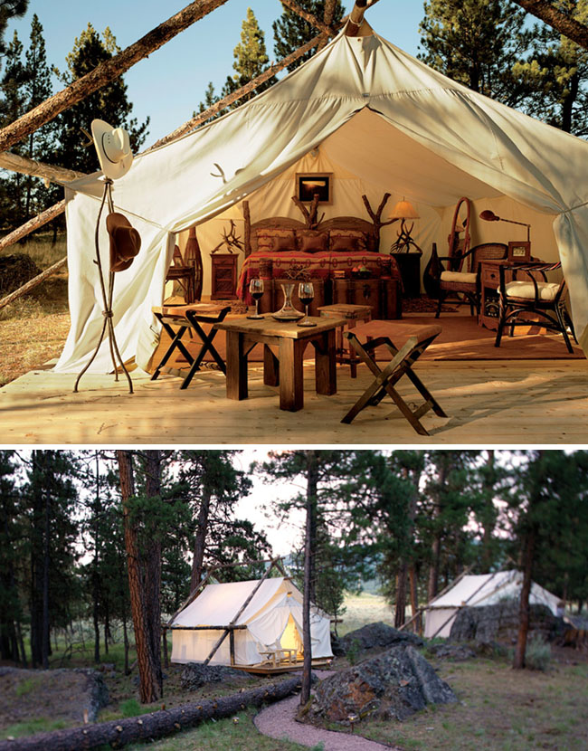 gl&ing tents paws up & Glamping at The Resort at Paws Up - Green Wedding Shoes