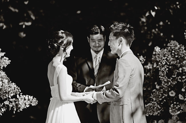 wedding ceremony black and white photography