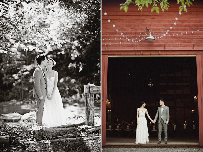 wedding couple red barn