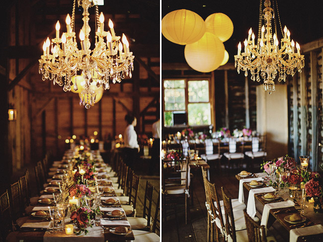 chandeliers barn wedding