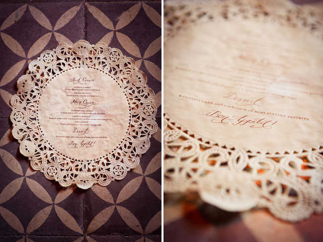 wedding lace menu with calligraphy