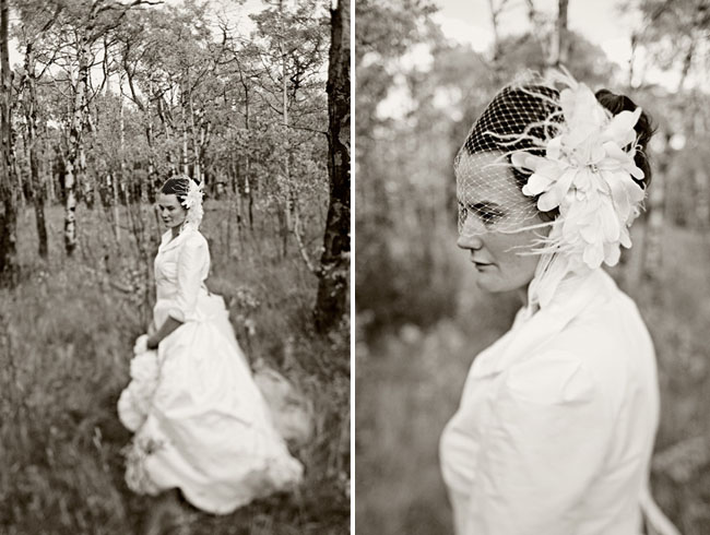 feather hairpiece bride
