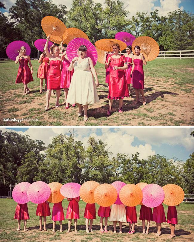 lots of parasols bridal party