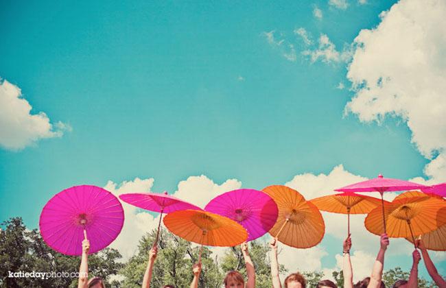 parasols wedding bright colors