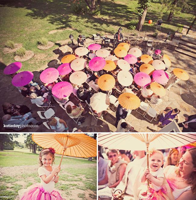 parasols outdoor wedding ceremony