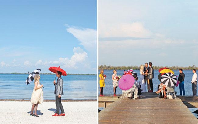 colorful parasols beach wedding