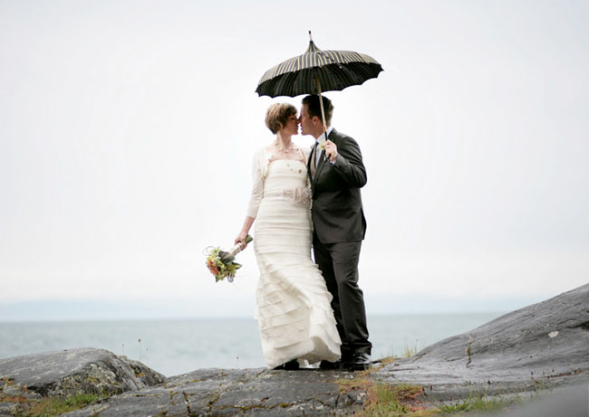 Rainy Wedding With Vintage Parasol Umbrella
