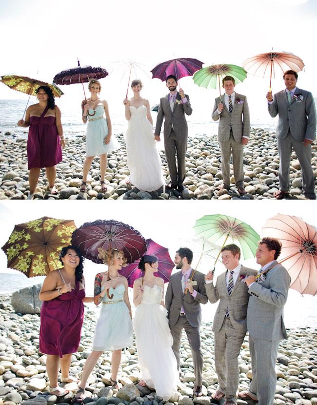 fashionable wedding party with vintage umbrellas