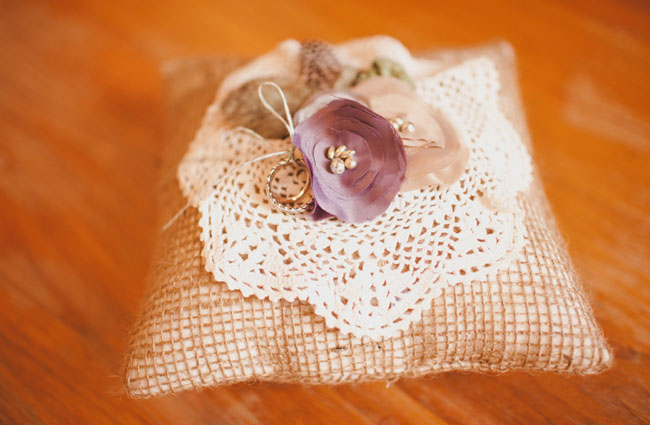 burlap lace ring pillow